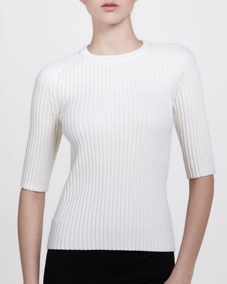 Half-Sleeve Crewneck Top, White