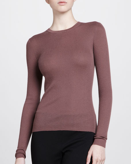Cashmere Crewneck Sweater, Mauve