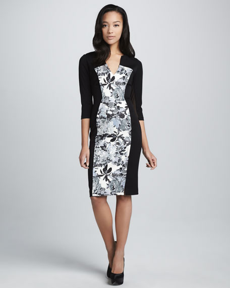 Heston Floral-Panel Dress