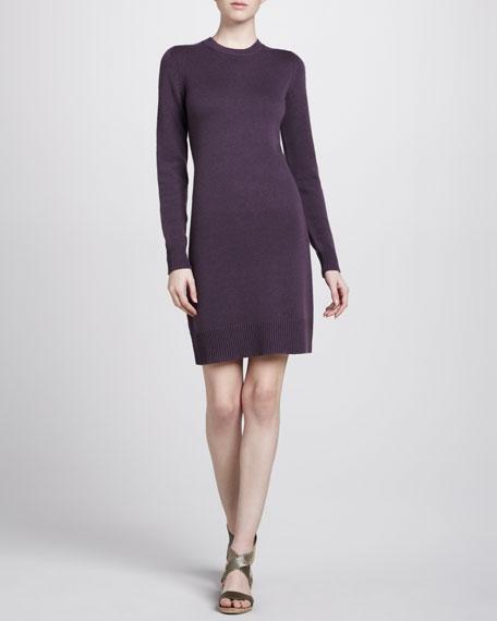 Crewneck Cashmere Dress, Plum