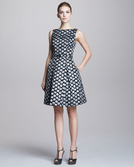 Dot-Jacquard Party Dress