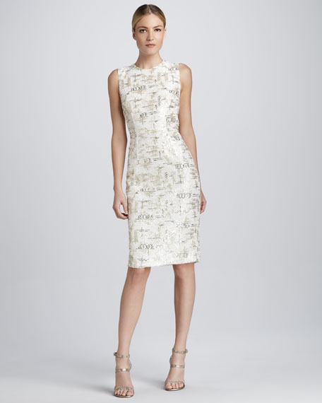 Sleeveless Lace and Sequined Cocktail Dress