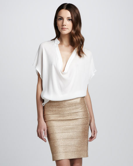 Shimmery Bandage Pencil Skirt