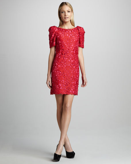 Marchesa Couture Puff-Sleeve Lace Dress