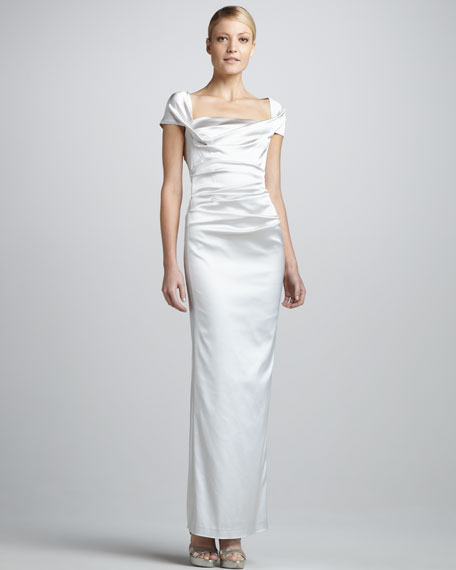 Square-Neck Cap-Sleeve Gown