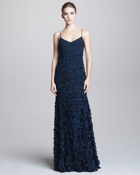 Theia Spaghetti-Strap Petal Gown