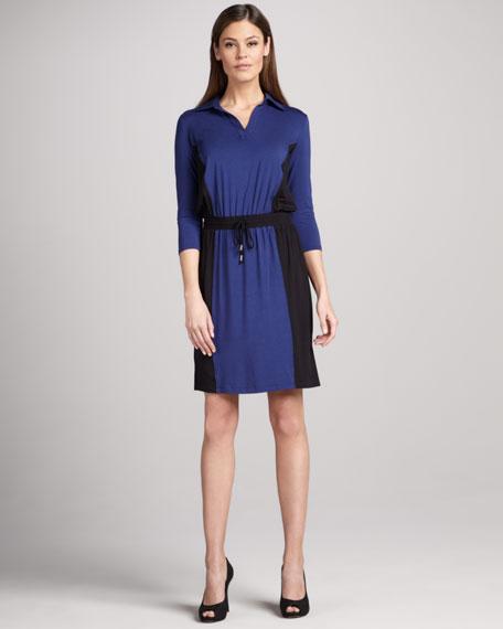 Colorblock Henley Dress
