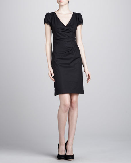 Puff-Sleeve Crepe Dress, Black