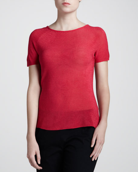 Wave Short-Sleeve Top, Cherry