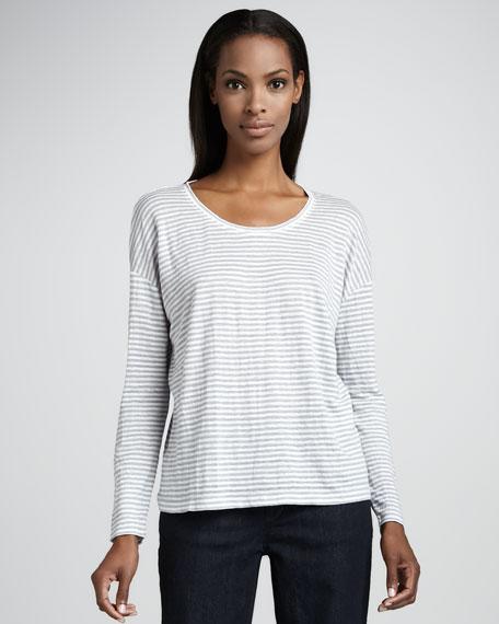 Striped Long-Sleeve Linen Top