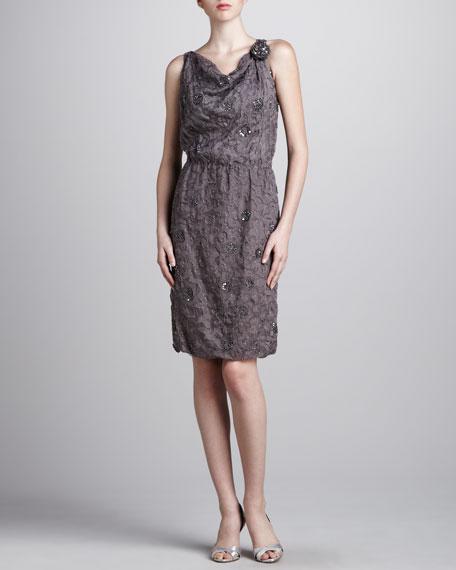 Beaded Cowl-Neck Dress, Pewter