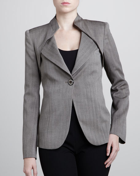 Folded-Collar Herringbone Jacket, Clay