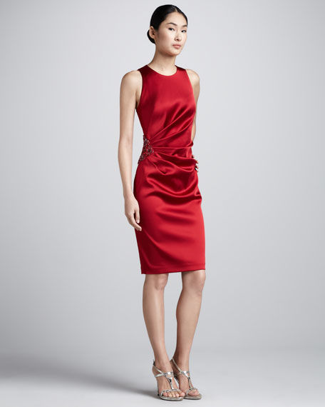 Bead-Hip Ruched Cocktail Dress