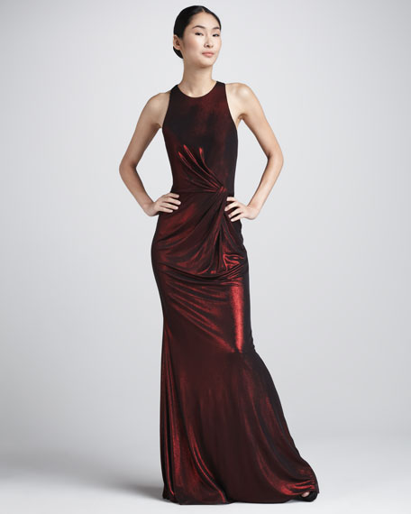 Metallic Ruched Racerback Gown