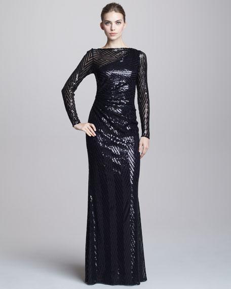 Chevron-Sequin Gown
