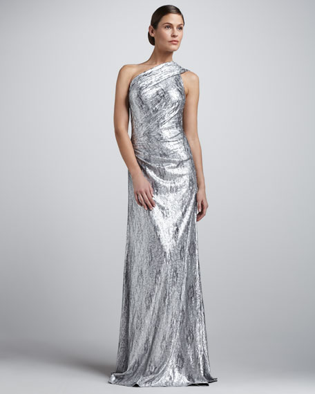 Metallic One-Shoulder Ruched Gown