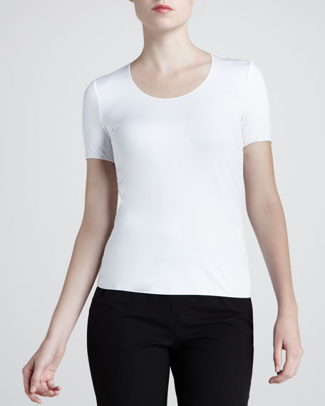 Jewel-Neck Top, White
