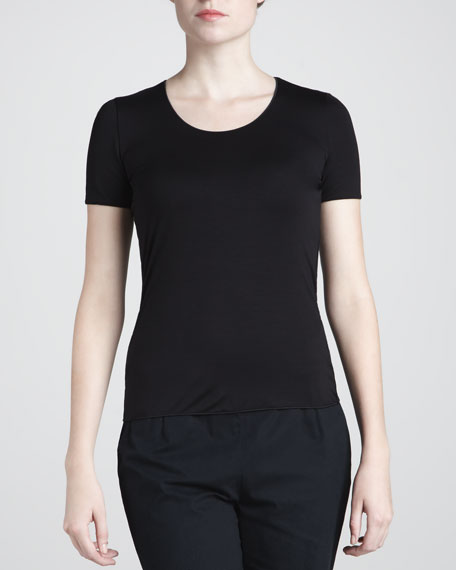 Jewel-Neck Top, Black