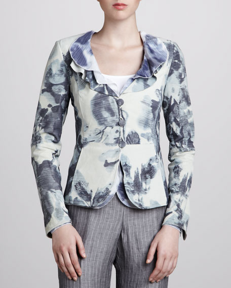 Ruffle-Collar Printed Leather Jacket