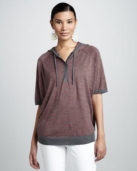 Striped Short-Sleeve Hoodie, Petite