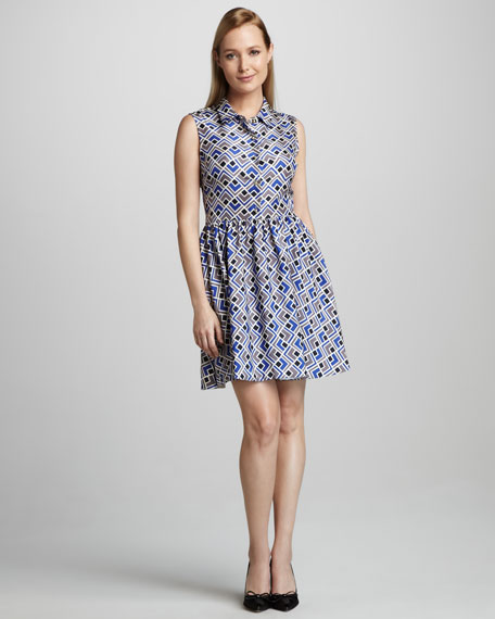 lora deco-print sleeveless shirtdress