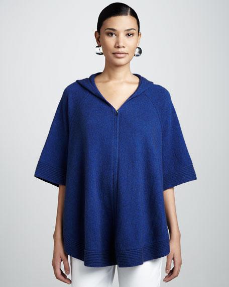 Short-Sleeve Hooded Poncho, Petite