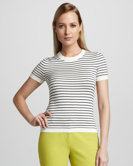 nataly striped short-sleeve sweater