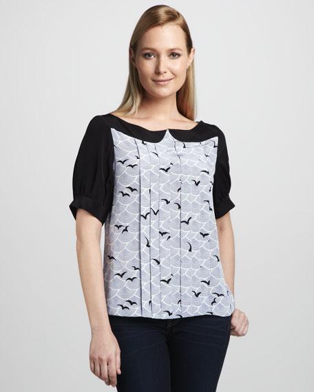 teresa bird-print silk top