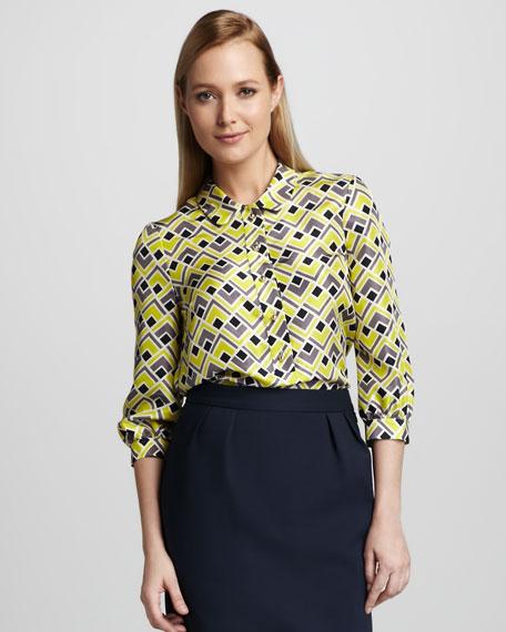 felicity deco-print silk blouse