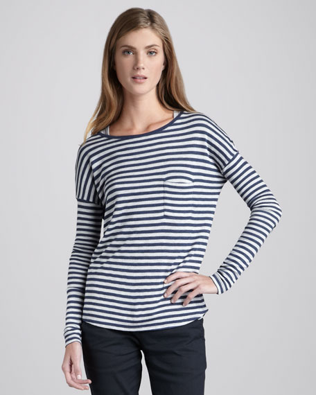 Striped Drop-Sleeve Pocket Tee