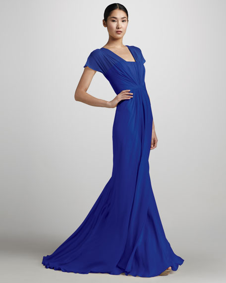 Flutter-Sleeve Chiffon Mermaid Gown