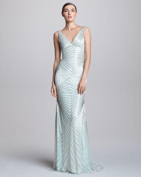 V-Neck Geometric Beaded Bias Gown