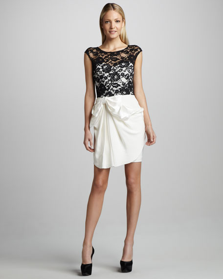 Draped Lace-Top Cocktail Dress
