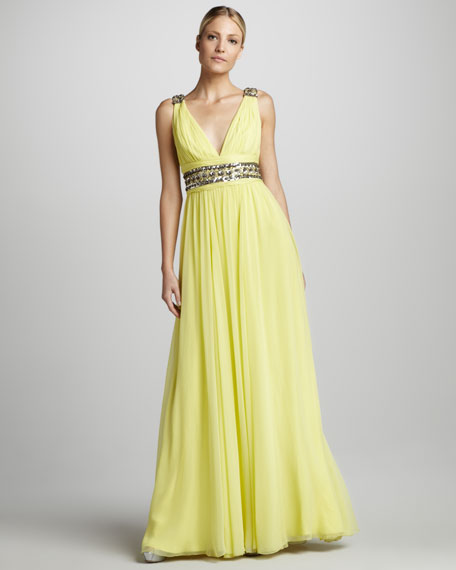 Beaded V-Neck Chiffon Gown