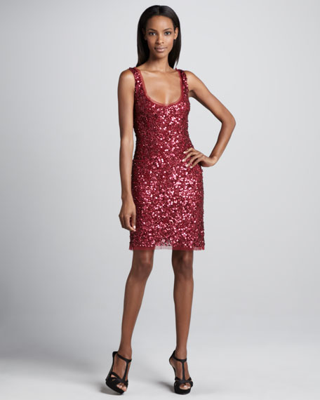 Beaded & Sequined Tank Cocktail Dress