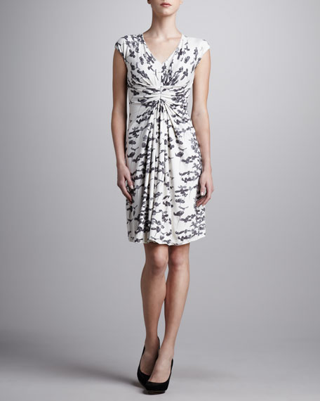 Gathered-Front Floral-Print Dress