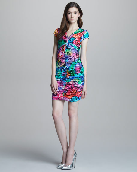 Ruched Rose-Print Cap-Sleeve Dress