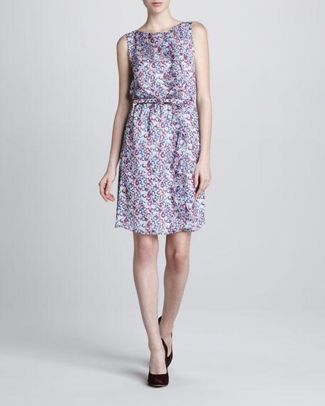 Belted Printed Chiffon Dress