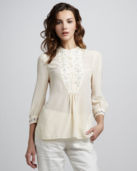 Petal Embroidered Silk Top
