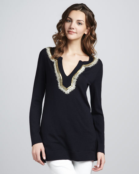 Dove Embellished Wool Tunic