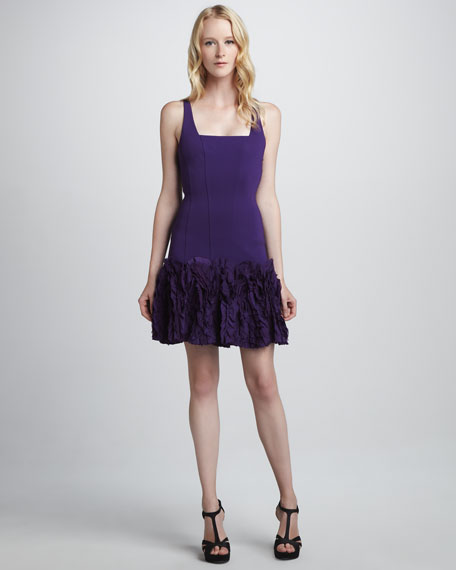 Ruffle-Skirt Fit-and-Flare Crepe Dress