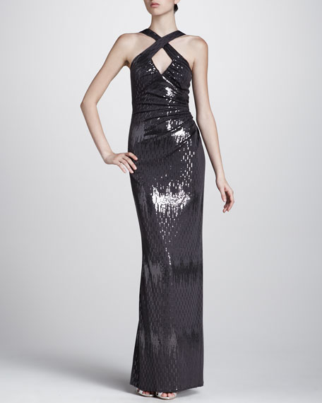 Cross-Neck Sequined Gown