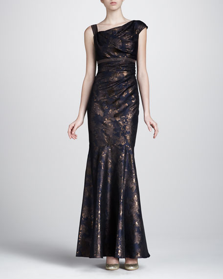 Metallic-Painted Off-the-Shoulder Gown