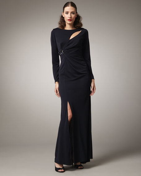 Long-Sleeve Cutout Detail Gown