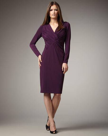 Long-Sleeve V-Neck Dress, Women's