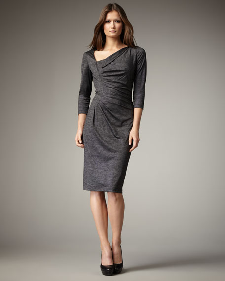 Ruched Three-Quarter Sleeve Dress, Women's