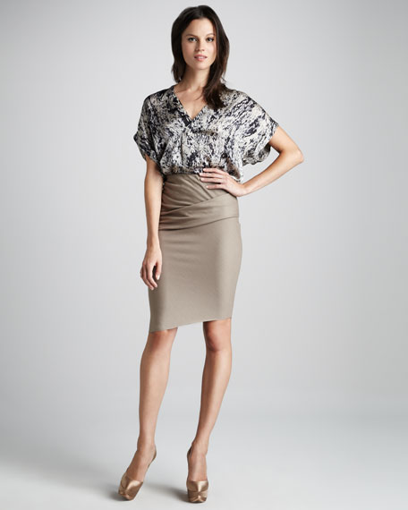 Folded Wool Pencil Skirt
