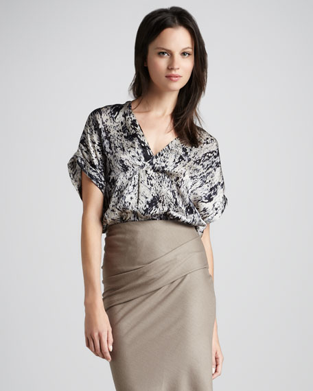 Printed Silk Wrap Top