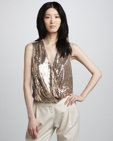 Sequined Wrap-Front Top