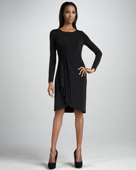 Side-Draped Jersey Long-Sleeve Dress